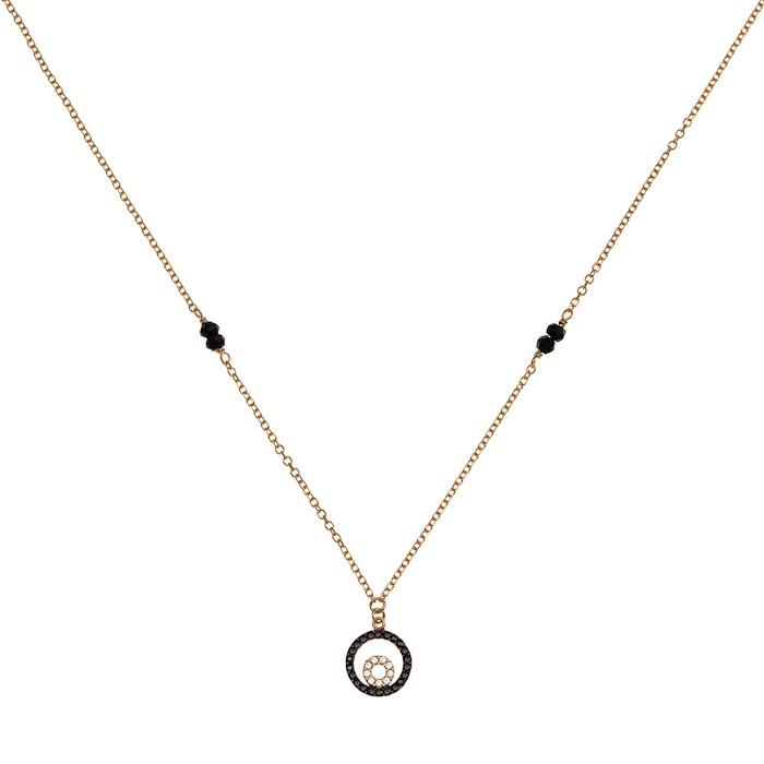 Κολιέ με Μαύρα Ζιργκόν Χρυσός Κ9 - 10220