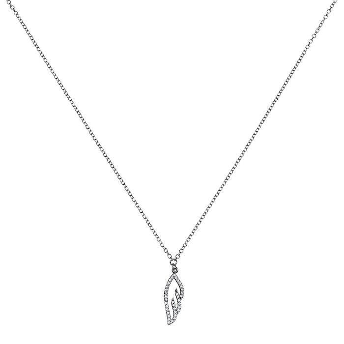 Κολιέ με Ζιργκόν Λευκόχρυσος Κ9 - 10561