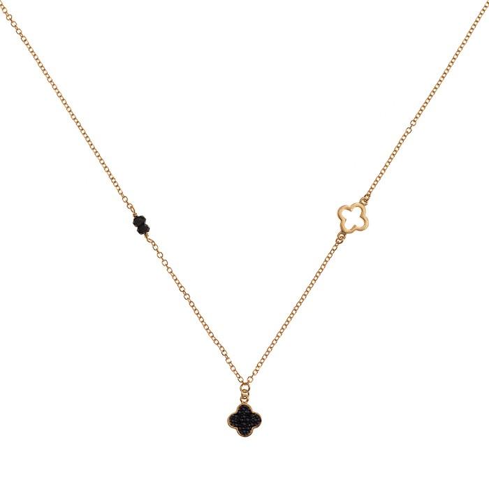 Κολιέ με Μαύρα Ζιργκόν Χρυσός Κ9 - 10235