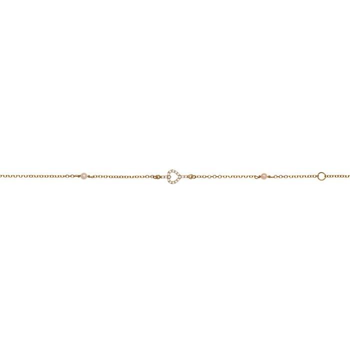 Βραχιόλι Καρδιά με Ζιργκόν Χρυσός Κ9 - 10587