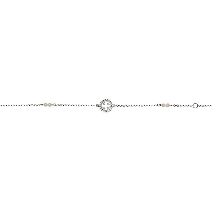 Βραχιόλι Κύκλος με Ζιργκόν Λευκόχρυσος Κ9 - 10575