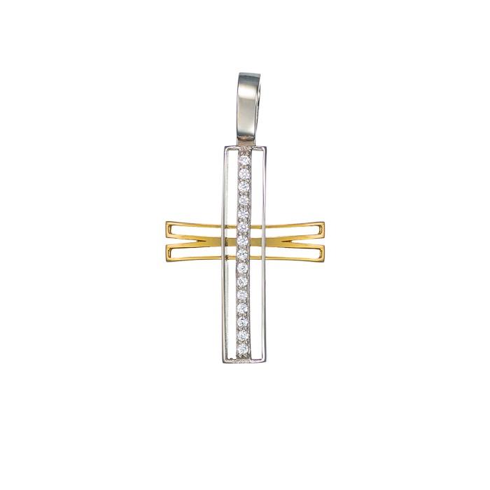 Σταυρός με Ζιργκόν Δίχρωμος Κ14 - 13007CZ