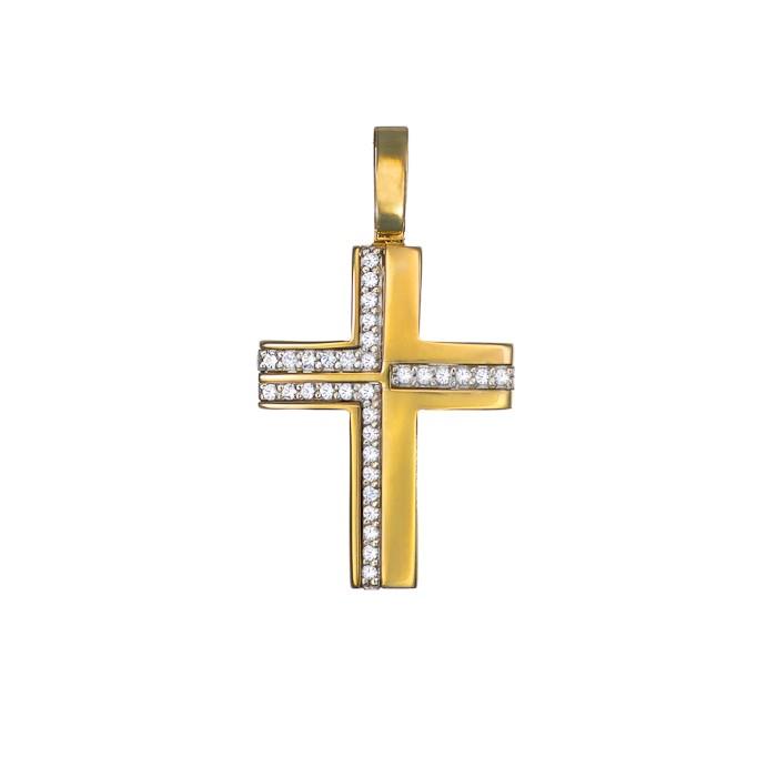 Σταυρός με Ζιργκόν Δίχρωμος Κ14 - 13009CZ
