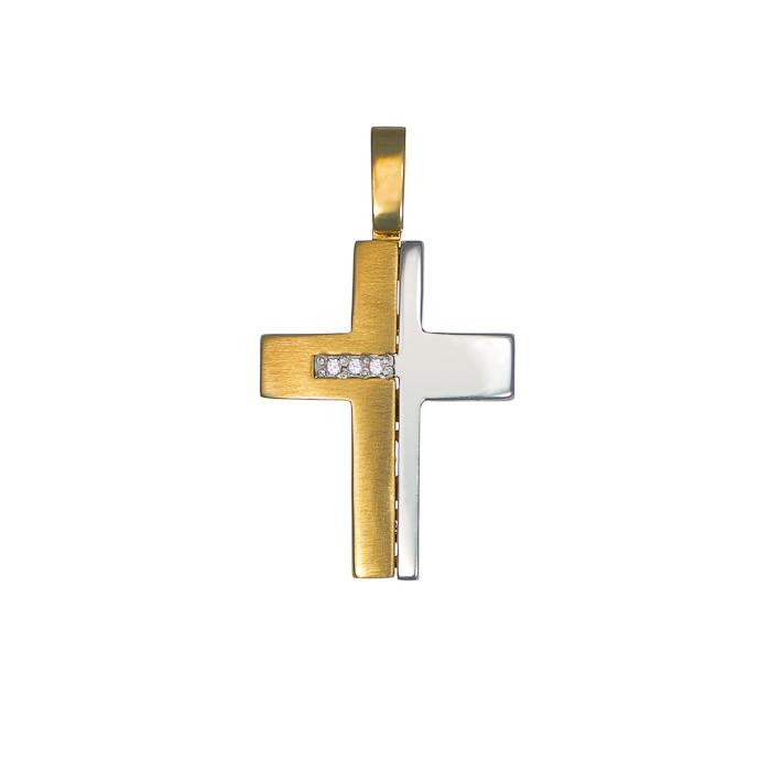 Σταυρός με Ζιργκόν Δίχρωμος Κ14 - 13010CZ