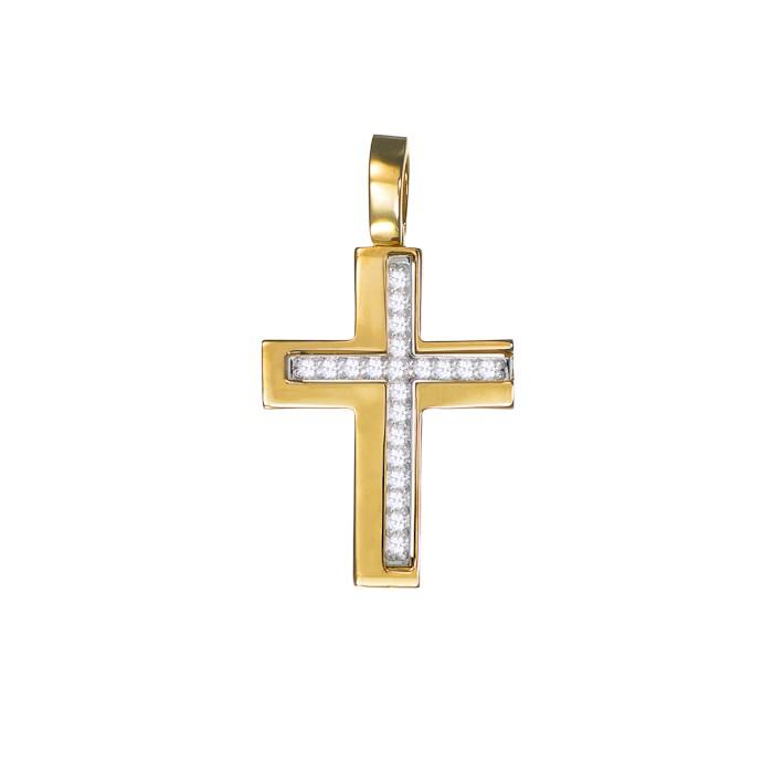 Σταυρός με Ζιργκόν Δίχρωμος Κ14 - 13012CZ