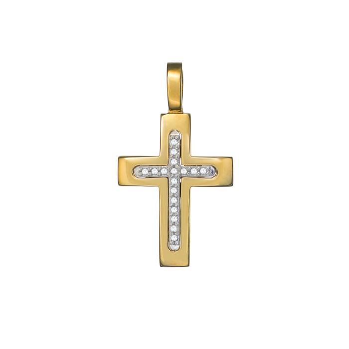 Σταυρός με Ζιργκόν Δίχρωμος Κ14 - 13013CZ