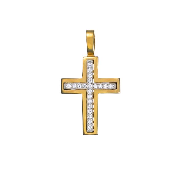 Σταυρός με Ζιργκόν Δίχρωμος Κ14 - 13014CZ