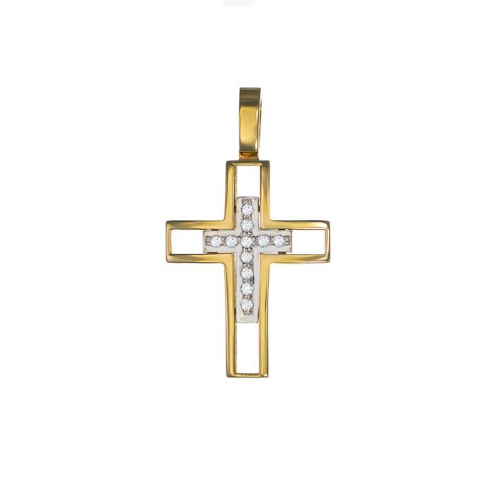 Σταυρός με Ζιργκόν Δίχρωμος Κ14 - 13015