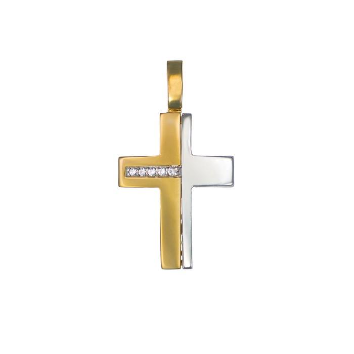 Σταυρός με Ζιργκόν Δίχρωμος Κ14 - 13016CZ