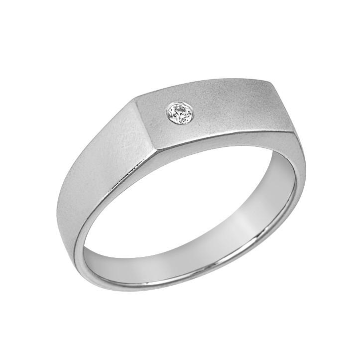 Δαχτυλίδι Ανδρικό με Ζιργκόν Λευκόχρυσος Κ14 - 90209