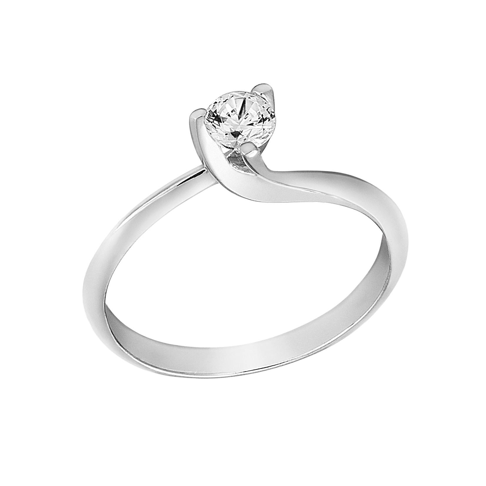 Δαχτυλίδι Μονόπετρο με Διαμάντι Λευκόχρυσος Κ18 - 13020