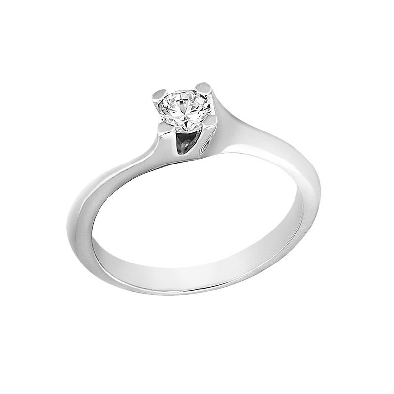 Δαχτυλίδι Μονόπετρο με Διαμάντι Λευκόχρυσος Κ18 - 13021