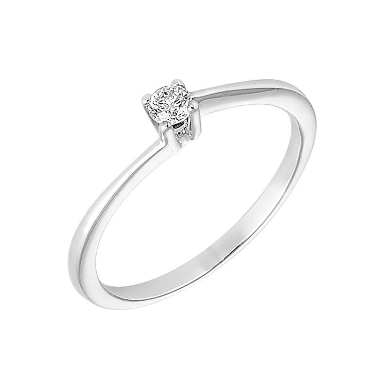 Δαχτυλίδι Μονόπετρο με Διαμάντι Λευκόχρυσος Κ18 - 13022