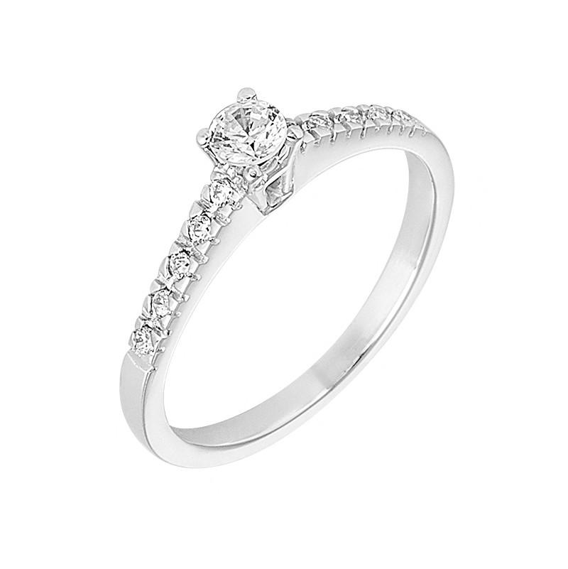 Δαχτυλίδι Μονόπετρο με Διαμάντια Λευκόχρυσος Κ18 - 13023