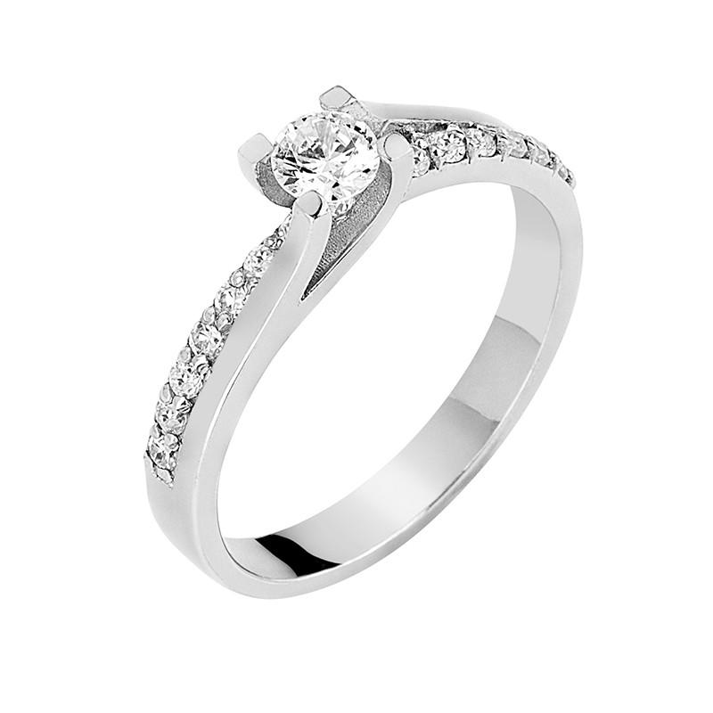Δαχτυλίδι Μονόπετρο με Διαμάντια Λευκόχρυσος Κ18 - 13084