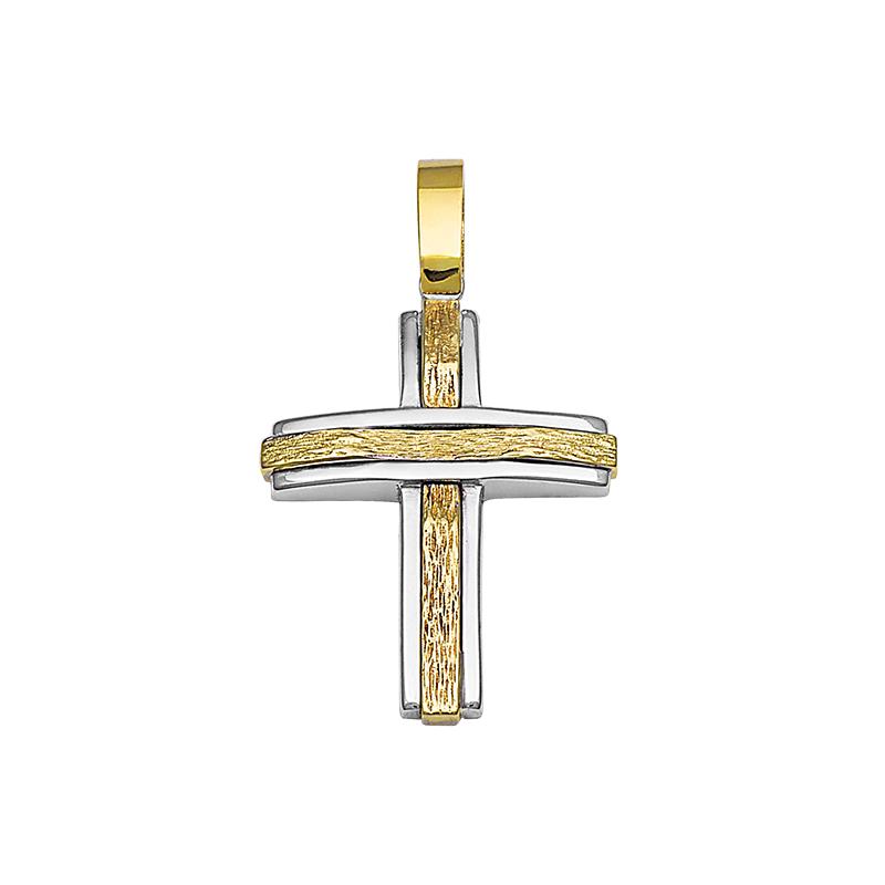 Σταυρός Σαγρέ Χρυσός και Λευκόχρυσος Κ14 - 13093SA