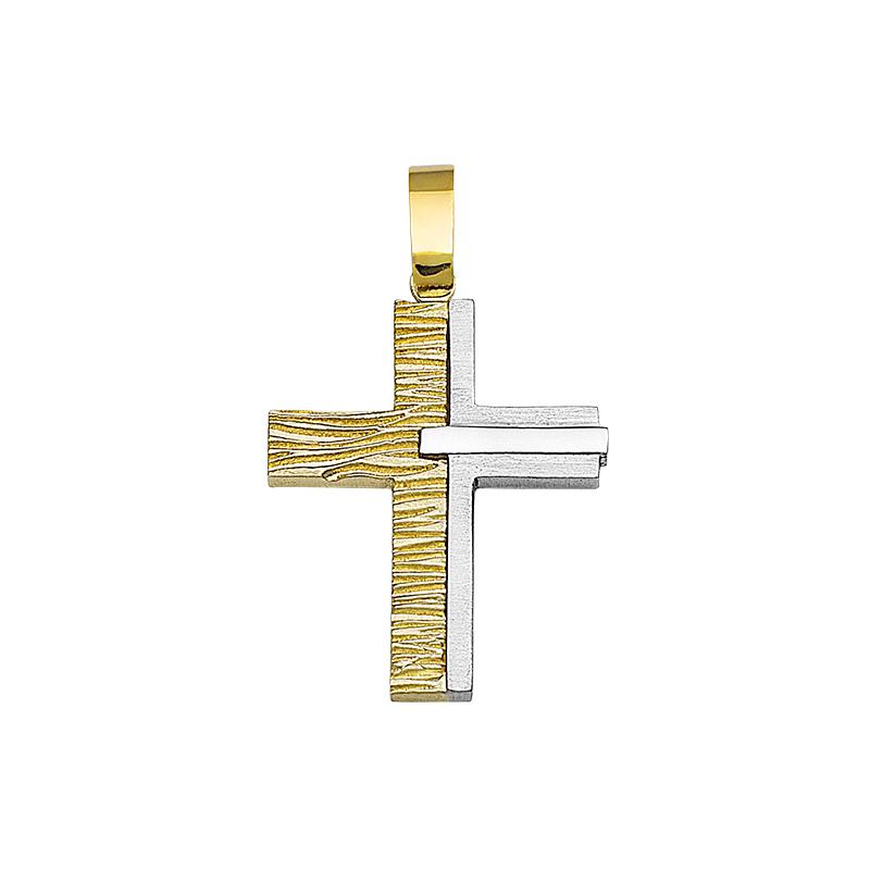 Σταυρός Σαγρέ Χρυσός και Λευκόχρυσος Κ14 - 13094