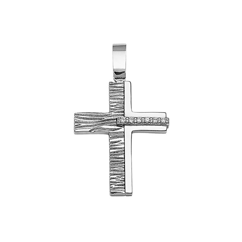 Σταυρός Σαγρέ με Ζιργκόν Λευκόχρυσος Κ14 - 13094CZ