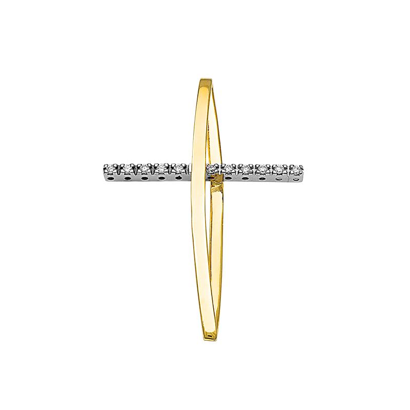 Σταυρός με Διαμάντια Χρυσός και Λευκόχρυσος Κ18 - 13087