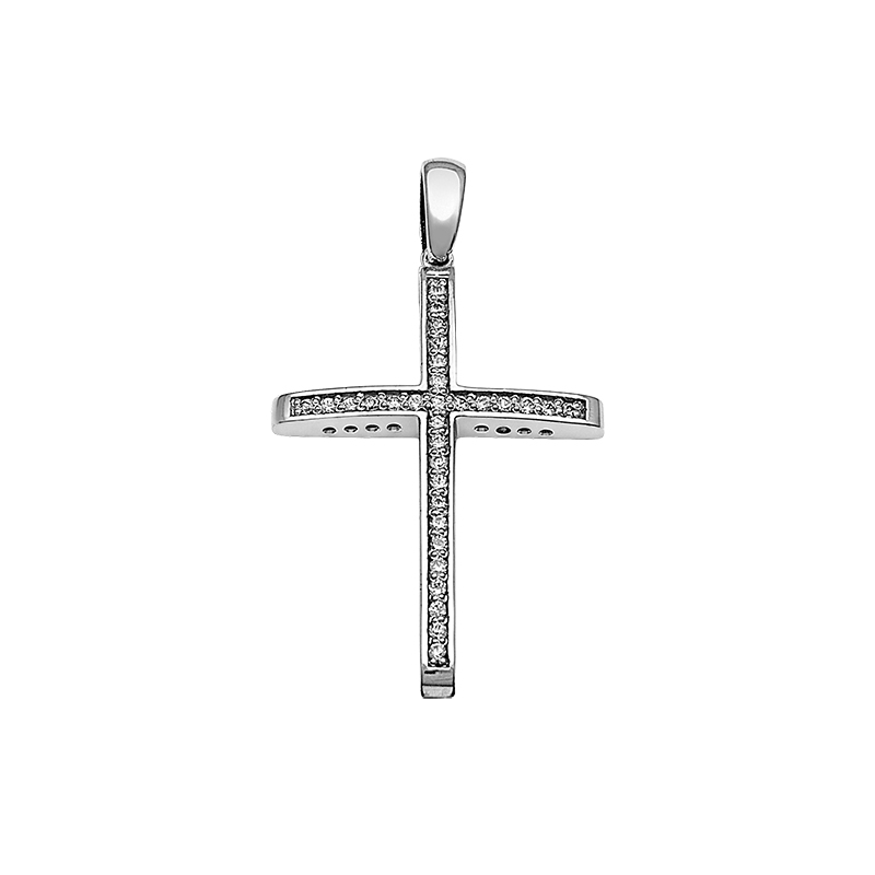 Σταυρός με Διαμάντια Λευκόχρυσος Κ18 - 13091