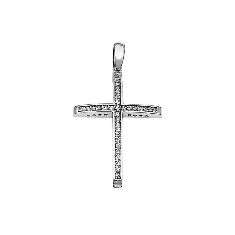 Σταυρός με Ζιργκόν Λευκόχρυσος Κ14 - 13091CZ