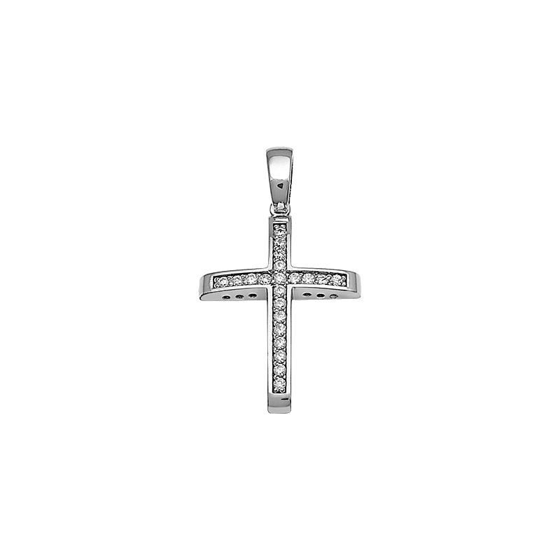 Σταυρός με Ζιργκόν Λευκόχρυσος Κ14 - 13088CZ