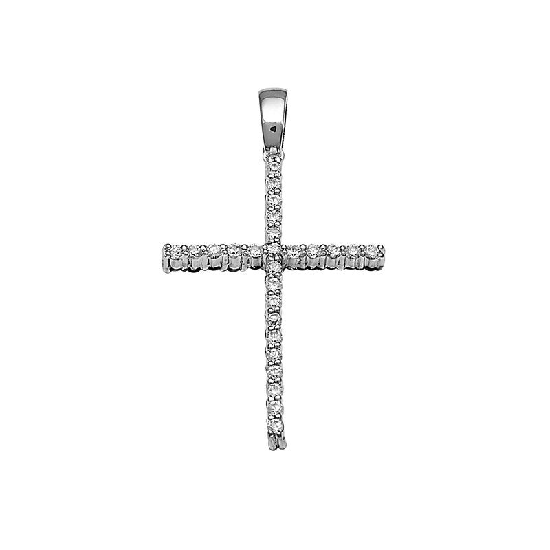 Σταυρός με Ζιργκόν Διπλής Όψης Λευκόχρυσος Κ14 - 13081CZ