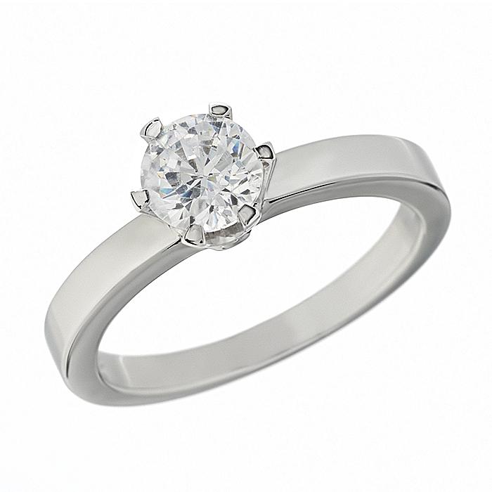 Δαχτυλίδι Μονόπετρο με Διαμάντι Λευκόχρυσος Κ18 - 110571R