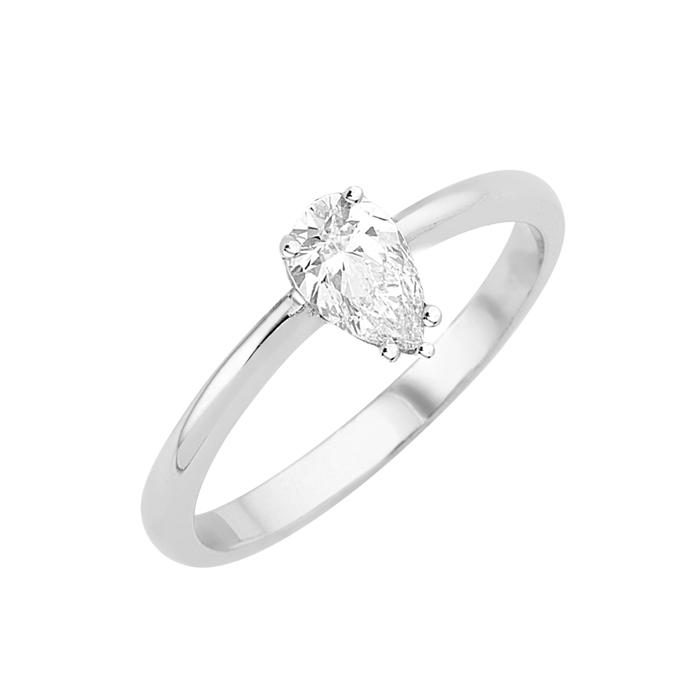 Δαχτυλίδι Μονόπετρο με Διαμάντι Πουάρ Λευκόχρυσος Κ18 - 16001