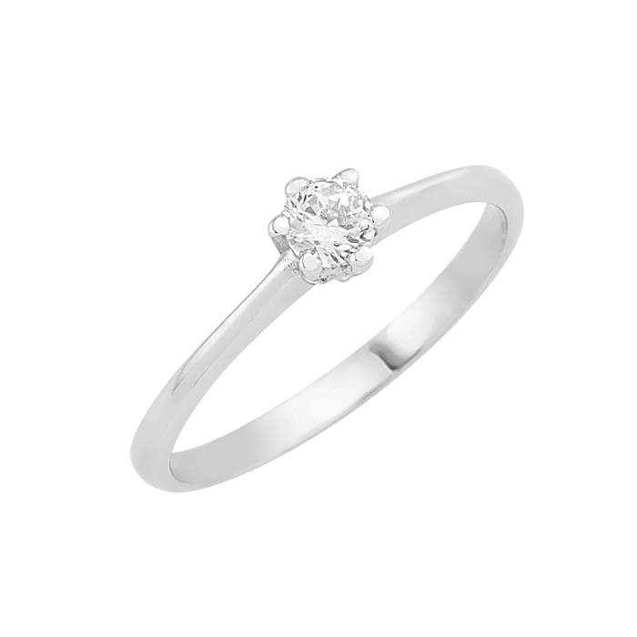 Δαχτυλίδι Μονόπετρο με Διαμάντι Λευκόχρυσος Κ18 - 16007