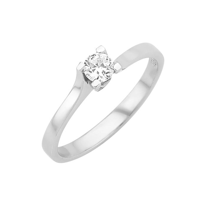 Δαχτυλίδι Μονόπετρο με Διαμάντι Λευκόχρυσος Κ18 - 16009