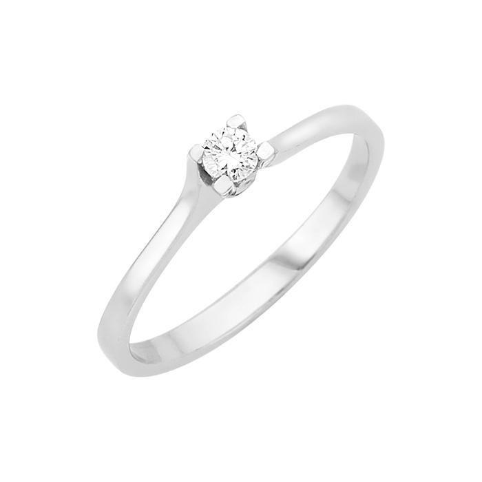 Δαχτυλίδι Μονόπετρο με Διαμάντι Λευκόχρυσος Κ18 - 16008