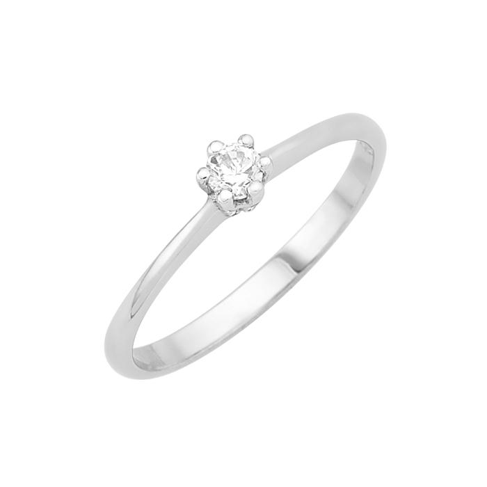 Δαχτυλίδι Μονόπετρο με Διαμάντι Λευκόχρυσος Κ18 - 16006