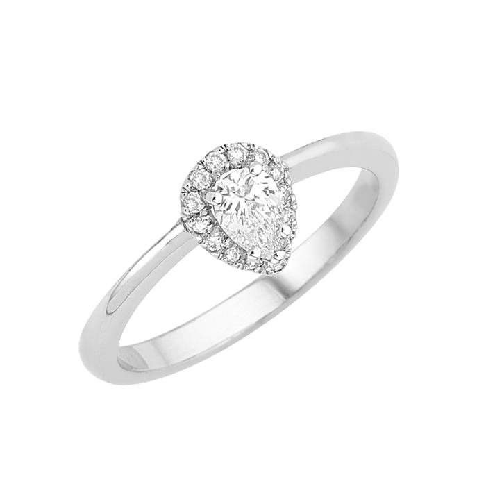 Δαχτυλίδι Μονόπετρο με Διαμάντι Πουάρ Λευκόχρυσος Κ18 - 16000