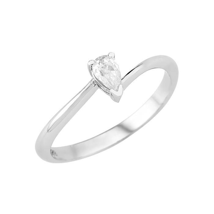 Δαχτυλίδι Μονόπετρο με Διαμάντι Πουάρ Λευκόχρυσος Κ18 - 16005