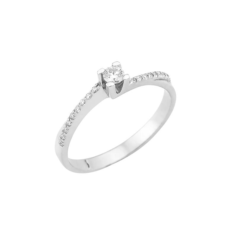 Δαχτυλίδι Μονόπετρο με Διαμάντια Λευκόχρυσος Κ18 - 16011