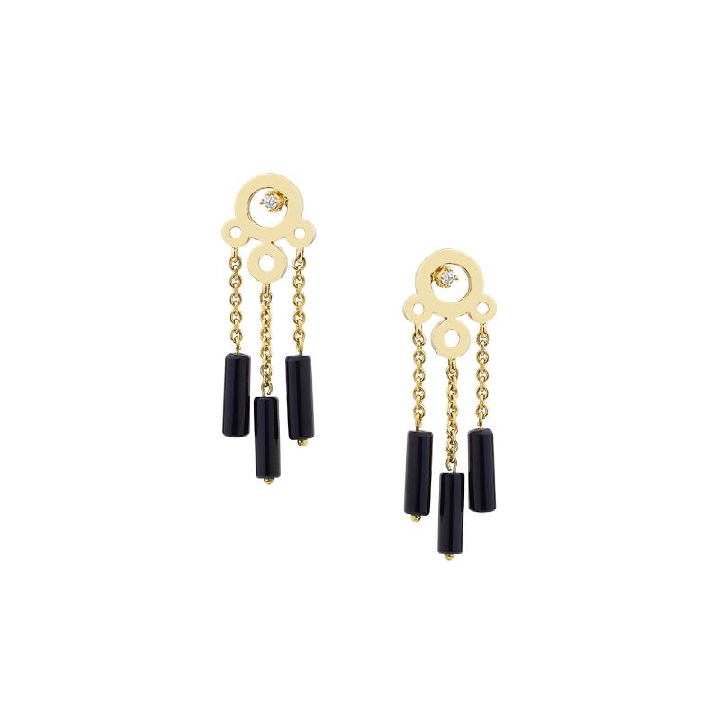 Σκουλαρίκια με Διαμάντια & Όνυχα Χρυσός Κ18 - 0310EY