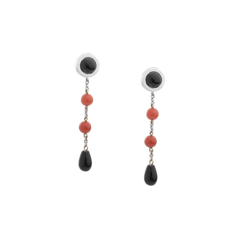 Σκουλαρίκια με Όνυχα & Κοράλι Λευκόχρυσος Κ18 - 0309EY
