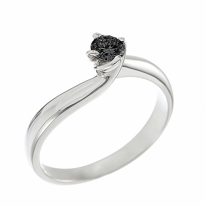 Δαχτυλίδι Μονόπετρο με Μαύρο Διαμάντι Λευκόχρυσος Κ18 - 05369BL