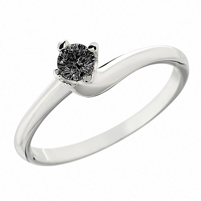 Δαχτυλίδι Μονόπετρο με Μαύρο Διαμάντι Λευκόχρυσος Κ18-06339BL4