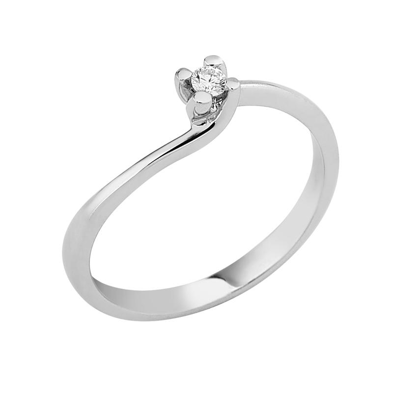 Δαχτυλίδι Μονόπετρο με Διαμάντι Λευκόχρυσος Κ18 - 912848R