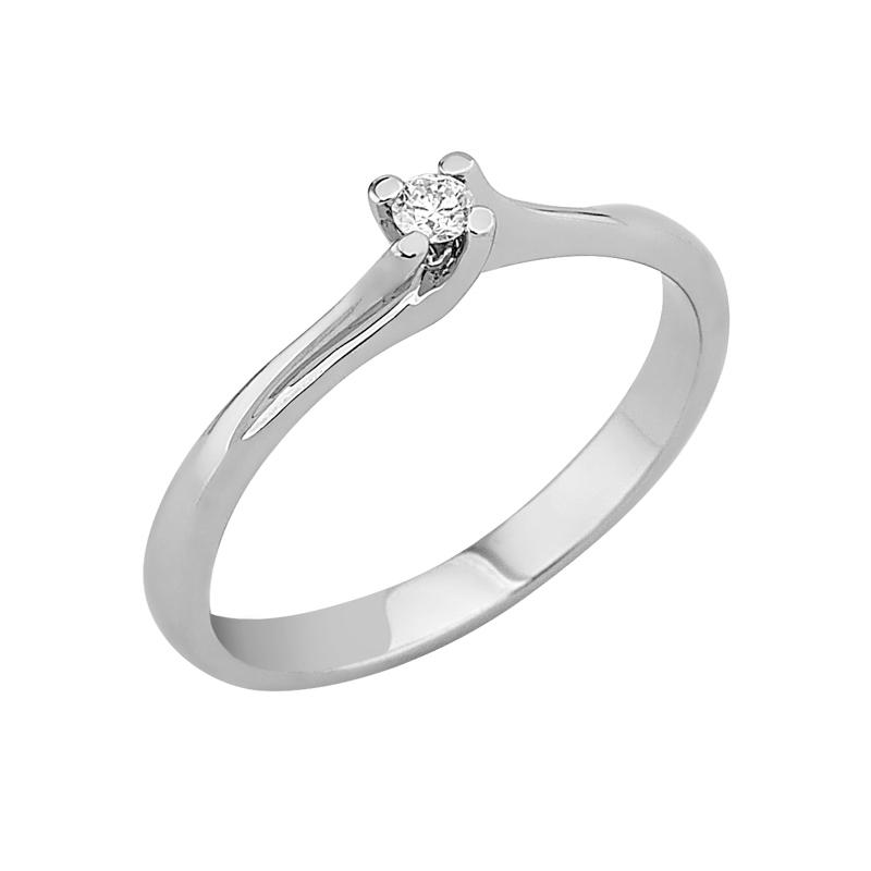 Δαχτυλίδι Μονόπετρο με Διαμάντι Λευκόχρυσος Κ18 - 912867R