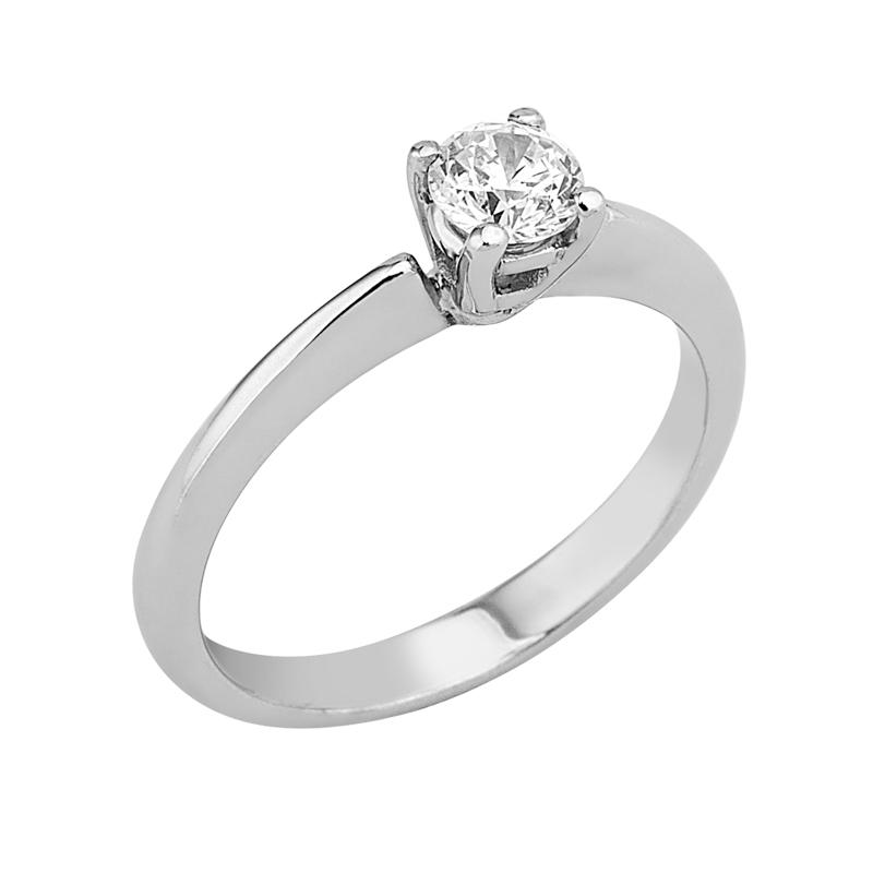 Δαχτυλίδι Μονόπετρο με Διαμάντι Λευκόχρυσος Κ18 - 16020