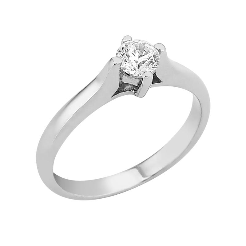 Δαχτυλίδι Μονόπετρο με Διαμάντι Λευκόχρυσος Κ18 - 16019
