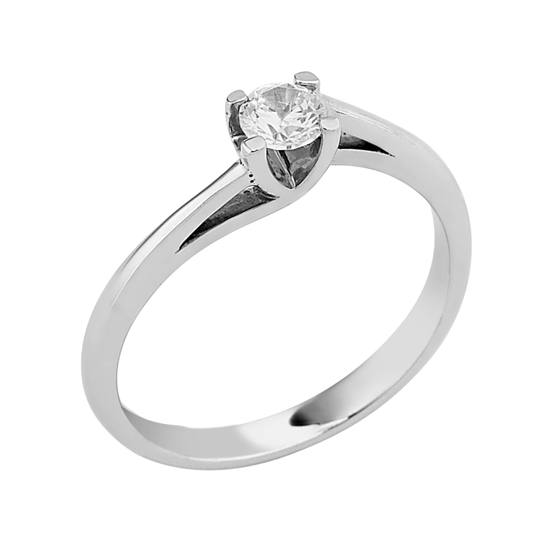 Δαχτυλίδι Μονόπετρο με Διαμάντι Λευκόχρυσος Κ18 - 16018