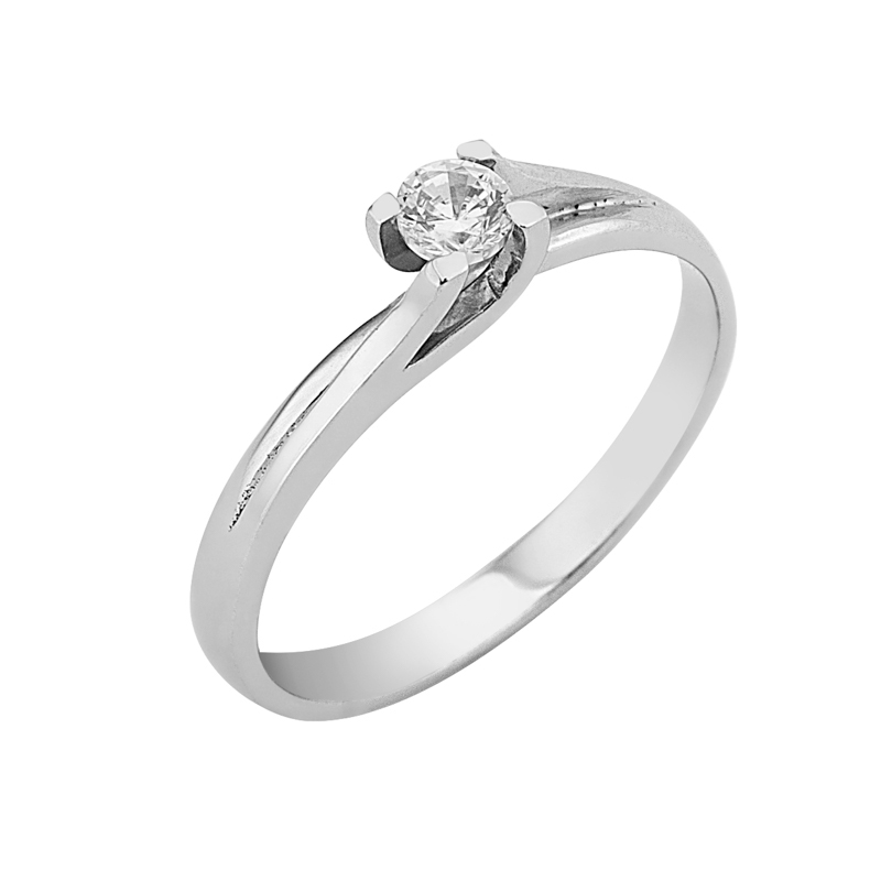 Δαχτυλίδι Μονόπετρο με Διαμάντι Λευκόχρυσος Κ18 - 16017