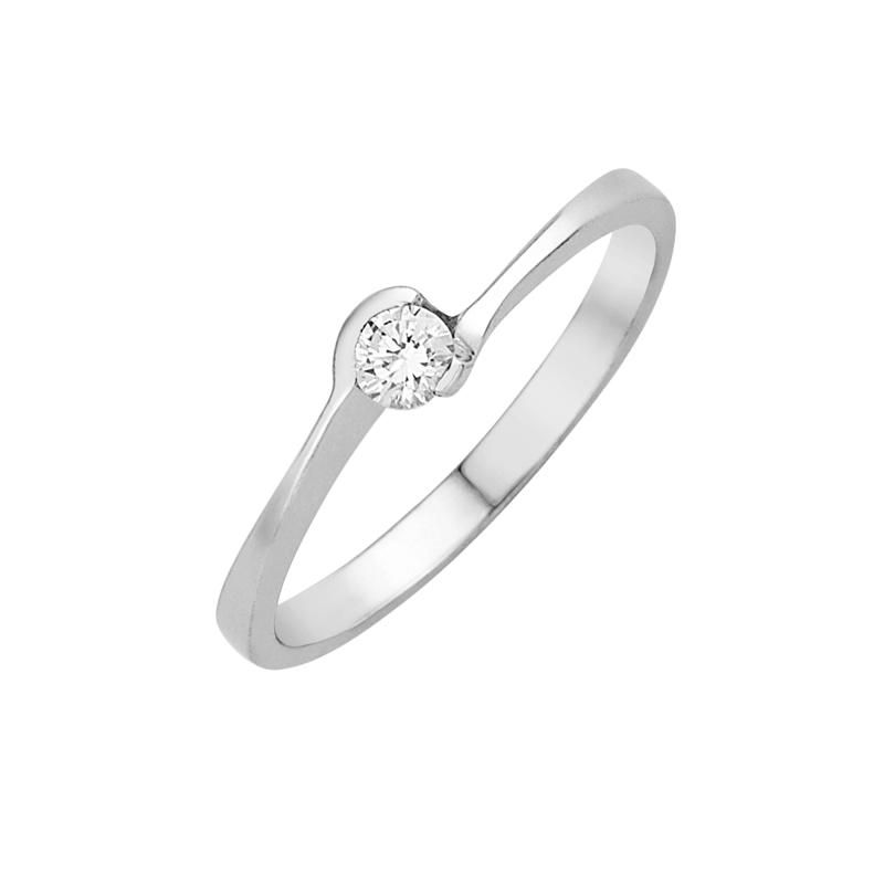 Δαχτυλίδι Μονόπετρο με Διαμάντι Λευκόχρυσος Κ18-16022