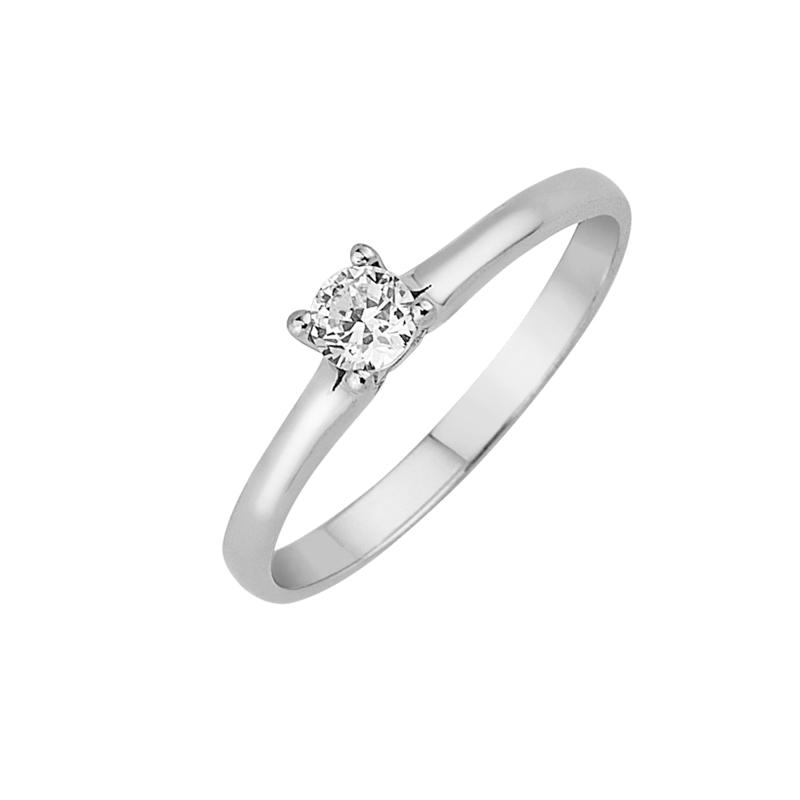 Δαχτυλίδι Μονόπετρο με Διαμάντι Λευκόχρυσος Κ18-16023