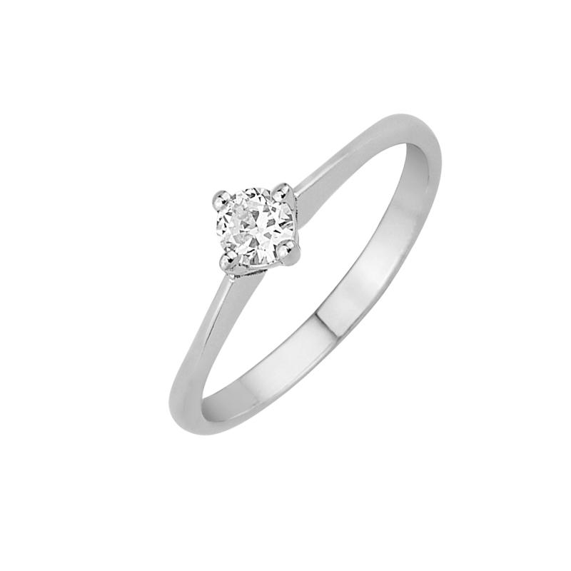 Δαχτυλίδι Μονόπετρο με Διαμάντι Λευκόχρυσος Κ18-16024