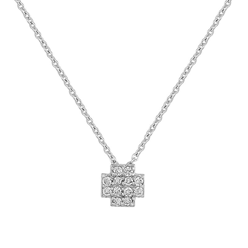 Μενταγιόν με Διαμάντια Λευκόχρυσος Κ18 - 13025P
